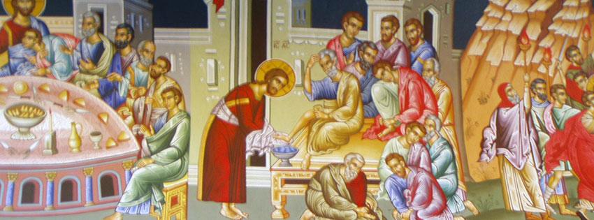 Facebook Borítóképek/Emberek: Facebookra való borítókép egy görögországi templom freskójáról az utolsó vacsora és a lábmosás jelenetével - idézettel - ingyen - letöltése - facebook - borítóképek - háttérképek - karácsonyi - számítógépre